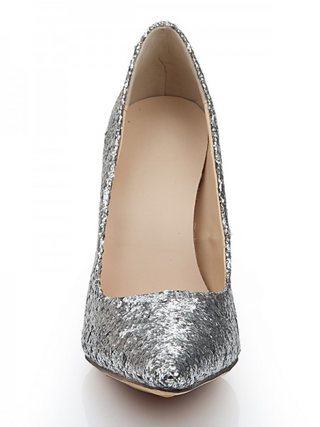 Elastic Pelle Paillettes Pointed Toe Tacchi alti Con metallic Butterfly