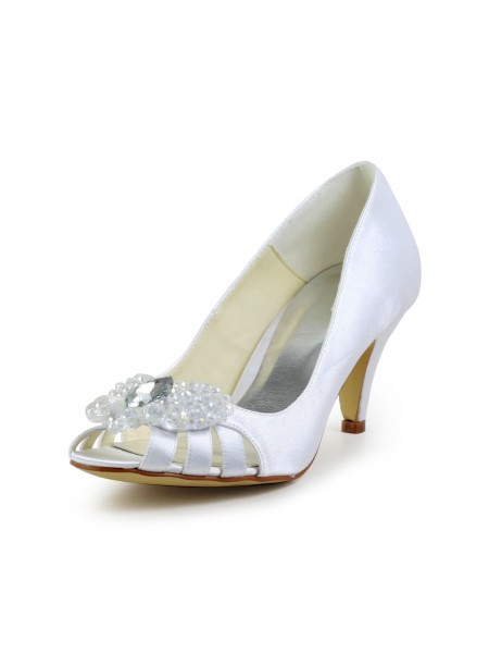 Raso Cone Tacco Peep Toe Sandals Bianca Scarpe da sposa Con Hollow-out
