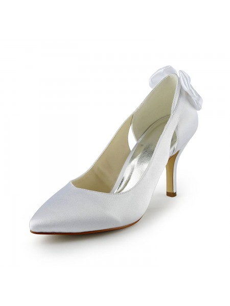 Raso Stiletto Tacco Pumps Con Hollow-out Bianca Scarpe da sposa