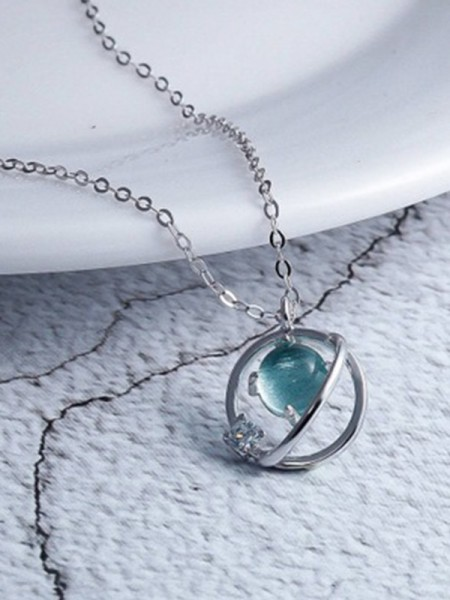 Korean Charming 925 Sterling Argento Con Crystal Collane