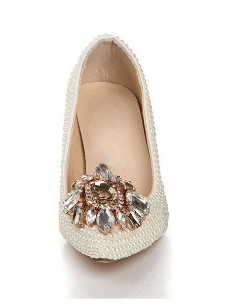 Patent Pelle Perle Strass Buckle Pointed Toe Tacchi alti