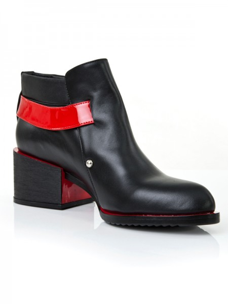 Kitten Tacco Punta chiusa Cattlehide Pelle Con Buckle Red Booties